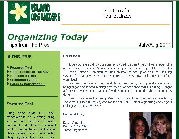 Island Organizers' e-newsletter Organizing Today - Tips from the Pros